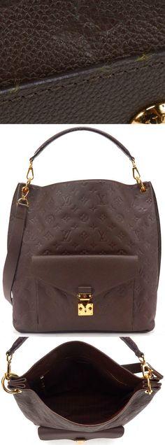 LOUIS VUITTON Authentic Brown Monogram Empreinte Leather Metis Tote Handbag $2910.0
