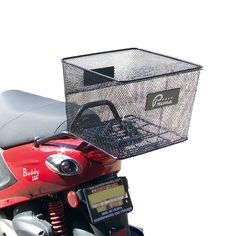 This attractive black steel mesh crate from Prima beats any other scooter basket. Universal mount, fits most accessory luggage racks. Cafe Racer Girl, Custom Cafe Racer, Vespa Accessories, Scooter Custom, Scooter Girl, Scooter Parts, Milk Crates, Scrambler Motorcycle, Luggage Rack