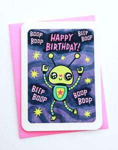 Robot Happy Birthday funny birthday card boyfriend birthday