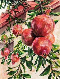 Rich pomegranates, israeli landscape drawing from holy land, made by the artist David Fisch, vivid print on canvas, stretched on wood frame. Landscape Drawings, Landscape Paintings, Watercolor Paintings, Art Drawings, Hydrangea Landscaping, Landscaping Shrubs, Landscaping Design, Landscaping Around Trees, Fruit Painting
