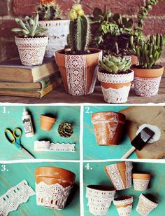 lace or burlap or stencil in white for plant pots