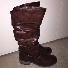 New Bare Traps boots Bare Traps Skye boots in brown. These boots are 15 inches tall and feature elastic at the back of the calf. They also feature a buckle and have Interior zippers for closure. Brand new without box. Smoke and pet free home. Bundle and save!!! Bare Traps Shoes Heeled Boots