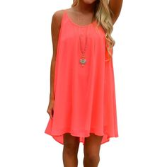 FUNOC Women's Summer Casual Sleeveless Evening Party Beach Dress Short Mini Dress