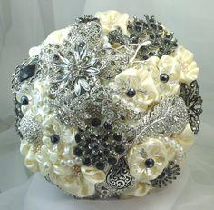 Deposit on custom Black & Ivory Bridesmaid Brooch by annasinclair, $75.00