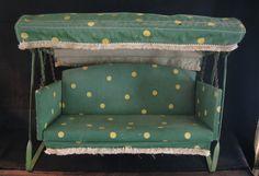 SALESMAN SAMPLE 1930-40'S PORCH GLIDER Vintage Outdoor Furniture, Lawn Furniture, Porch Glider, Glider Chair, Vintage Porch, Vintage Toys, Miniature Furniture, Dollhouse Furniture, Patio Lanterns