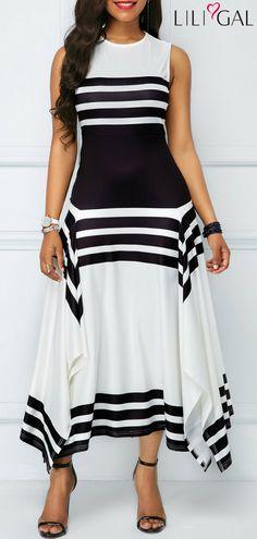 Sleeveless Asymmetric Hem Stripe Print Midi Dress #liligal #dresses #womenswear #womensfashion