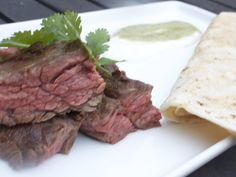 skirt steak with tomatillo sauce from Iron Chef Michael Symon Chef Recipes, Food Network Recipes, Tomatillo Sauce, Michael Symon, Iron Chef, Skirt Steak, Chefs, Poultry, Meat