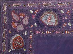 Lakai Suzani, traditional textiles of Uzbekistan, late 19th century, polychrome silk embroidery on silk ground. A fragment of embroidery on photo. Size 345 by 264cm., 11ft 4in by 8ft 8in. Source: Sotheby's auction.