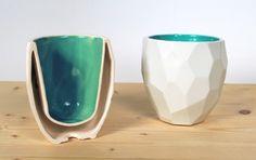 section Poligon cup orange Cup in poligons bottom logo studio lorier - bright color coffee mug - drinks