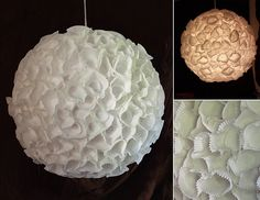 Ruffled Lotus Lantern - Can you guess what this is made of?! So cool & a project you can do yourself