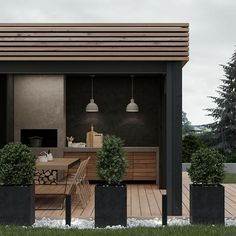 Summer style!! Matte black and wood - with horizontal plank style!! Modern contemporary outdoor garden kitchen with elegant cool style!