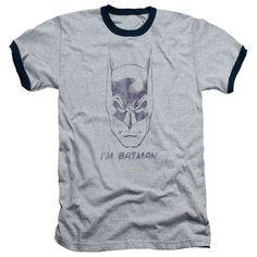 Mens Vintage Batman I'm Batman Ringer T-Shirt
