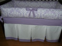 purple crib bedding by CustomBabyCreations on Etsy. Elegant, sophisticated, and precious bedding for your little princesses girl's nursery.