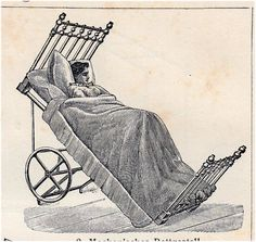 1908 Bizarre Edwardian HEALTH CARE print, NURSING, medical art lithograph  -->> Not so bizarre - people who can't breathe or who have GERD often have to sleep like this.