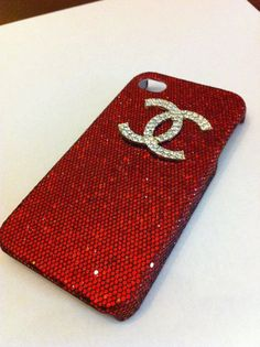 red glitter iphone 4 case with gold rhinestone Chanel logo by GlitterLovers, $20.00