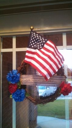 """Land of the Free.  Home of the Brave.  Grapevine wREath for sale.  $30 with free shipping to the continental US. 19""""height X 15""""width.  Message me for inquires/details."""