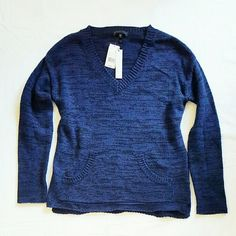 Sanctuary V Neck Sweater Brand new with tags. No defects or stains. Blue/Black marled color, front pockets, vneck, long-sleeved.  Size small, boxy silhouette Sanctuary Sweaters V-Necks