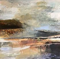 Layers of Silence-abstract landscape by Joan Fullerton Acrylic ~ 24 x 24