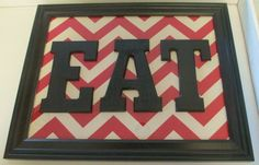 EAT Red Chevron Wall Sign for kitchen framed by EasilyEmbellished