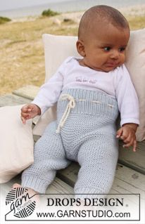 "BabyDROPS 20-25 - DROPS pants in garter st in ""Merino Extra Fine"". - Free pattern by DROPS Design"