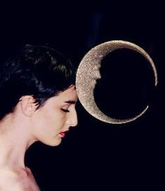 silver crescent moon hat. silhouettes. Philip Treacy Couture Fall 2001: