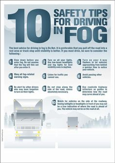 Road Safety Poster : 10 Safety Tips for Driving in Fog Driving Test Tips, Driving Safety, Learning To Drive Tips, Road Safety Tips, Car Facts, Car Care Tips, Safety Posters, Car Essentials, Driving School