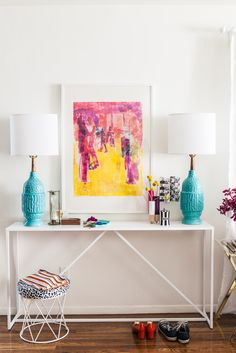 This is a great design makeover done by Emily Henderson, and Modern Lantern loved this little entry way space she put together. It's simple, bright, and those vintage turquoise lamps are awesome!