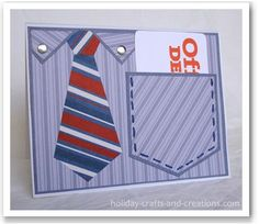 Fathers Day Cards: Shirt Pocket Cards from Holiday Crafts and Creations (free printable). Idea would work for other events. Boy Cards, Cute Cards, Cards Diy, Gift Cards Money, Fathers Day Crafts, Pocket Cards, Masculine Cards, Creative Cards, Homemade Cards
