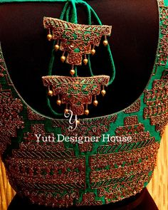 Embroidered Bridal Blouse and Saree with customized tassels by YUTI! For Orders and Queries reach us at or Address: Moosa street, TNagar, Chennai. Brocade Blouse Designs, Saree Tassels Designs, Simple Blouse Designs, Stylish Blouse Design, Bridal Blouse Designs, Blouse Neck Designs, Blouse Neck Patterns, Designer Blouse Patterns, Dior Fashion