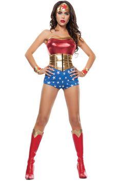 Sexy-Mighty-Wonder-Woman-Superhero-Heroine-Strapless-Romper-Halloween-Costume