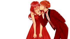 1boy 1girl ^_^ arm_behind_back bangs blush bow bowl_cut bowtie brown_hair buttons cheek_kiss chin_grab…