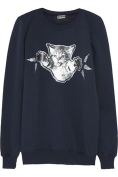 Markus Lupfer Cat Fight Cotton-Jersey Sweatshirt, $230 at Net-A-Porter. Snarky sweatshirts + cats = fashion gold.