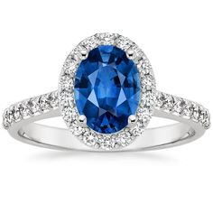 18K White Gold Sapphire Fancy Halo Diamond Ring with Side Stones (2/5 ct. tw.) from Brilliant Earth