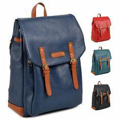 blue korean style backpack