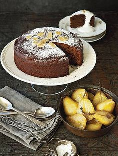 Lovely with a cuppa … fresh ginger cake and roasted vanilla pears.