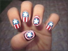 Pay homage to Captain America with stars and shields. | Community Post: 36 Amazing DIY-Able Manicures For The 4th Of July