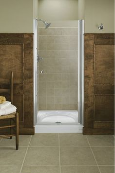 """Kohler K-702408-L Frameless Pivot Shower Door - 33.75""""-35.25"""" W x 65.5"""" H Matte Nickel Showers Shower Doors Swing"""