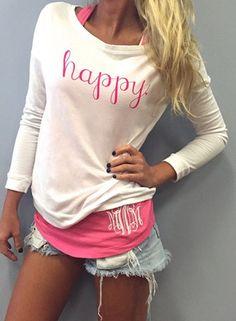 Stylish Scoop Neck Long Sleeve Letter Print T-Shirt + Tank Top Women's Twinset