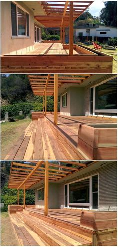 This astonishing wooden pergola deck design seems perfect over the raised hardwood deck area. It is magnificent and amazing in its outlook effects. The designing of the patio is exceptional and appealing. The entire area is covered with the wooden material in the form of pergola, deck, and stayers.