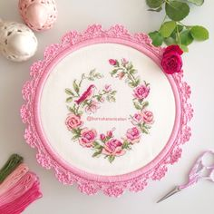 This Pin was discovered by Tuğ Cute Cross Stitch, Cross Stitch Bird, Cross Stitch Borders, Cross Stitch Flowers, Cross Stitch Designs, Cross Stitching, Cross Stitch Patterns, Diy Embroidery Patterns, Embroidery Hoop Crafts