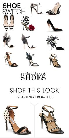 """""""Black shoes's collection 👠👡👢👞👟👠"""" by aletererenier ❤ liked on Polyvore featuring Aquazzura, Christian Louboutin, Dolce&Gabbana, Jimmy Choo, Oscar de la Renta, Mambo, Valentino, Sophia Webster, black and shoes"""