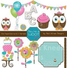 Owl Clip Art Digital Scrapbook Element Pack baby girl pink - Instant Download