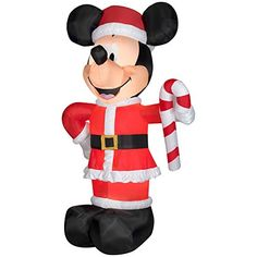 Christmas Disney Inflatable Giant 10 12 LED Mickey Mouse Santa w Candy Cane  By Gemmy   fed31cdc7