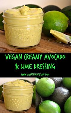Creamy, rich and smooth Avocado & Lime Dressing. Made in a blender or food processor in minutes! Versatile and delicious.  via @avirtualvegan