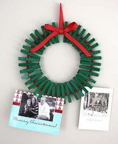 DIY Green Clothespin Wreath