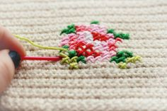 embroidery cross stitch on crochet