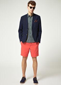 asos cotton suit red navy print shorts sunglasses jacket mens style blog 1