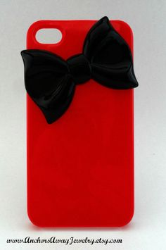 Red Iphone 4 Case With Black Bow, Bow Iphone 4 Case, Iphone Case