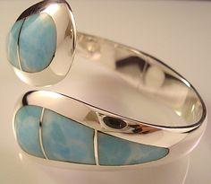 Taxco Mexican 950 Silver Larimar Clamper Bracelet Mexico   eBay