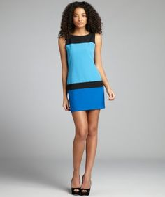 Single : black and blue two-tone colorblocked sheath dress : style # 321078001